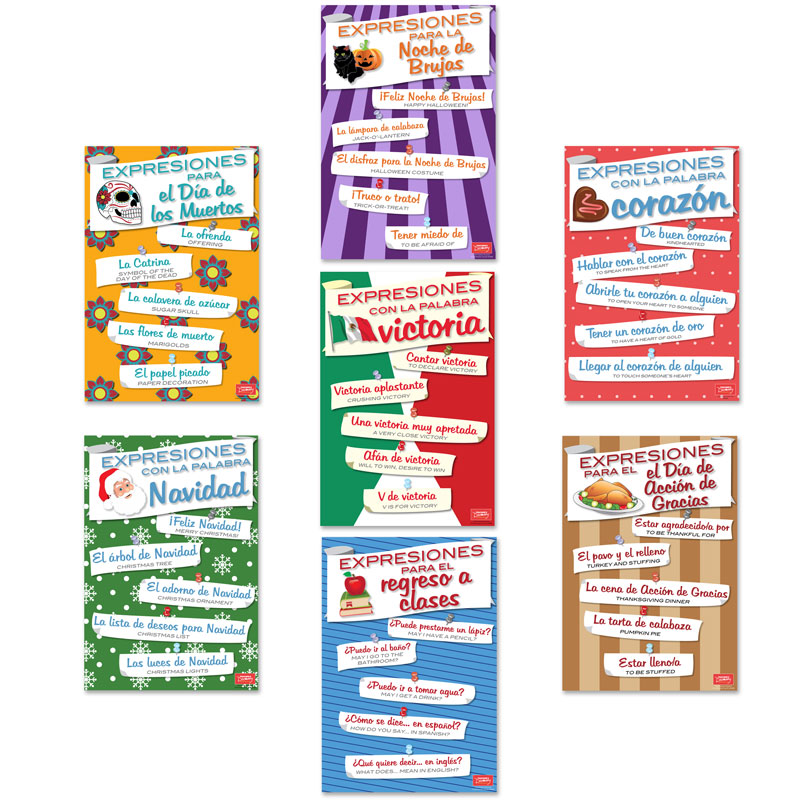 Spanish Holiday Expressions Mini-Poster Set