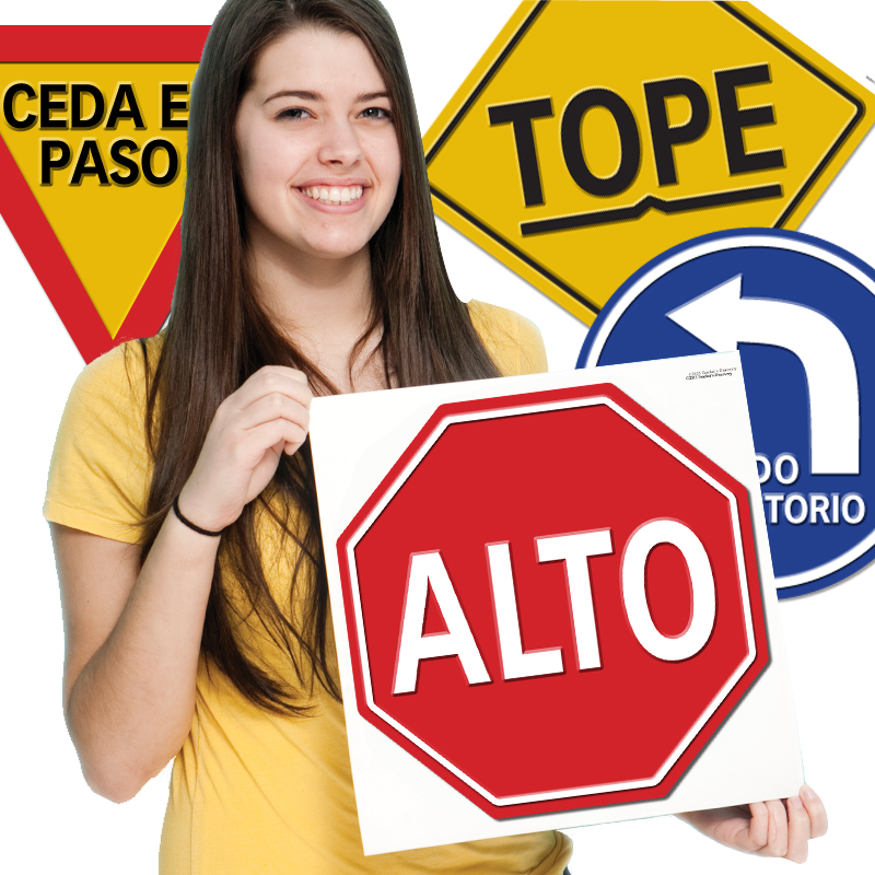 Road Signs Spanish Bulletin Board Set