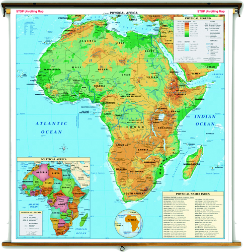 Land Cover Continent Physical Map Set of 7 on Multi-Roller