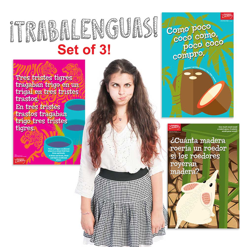 Spanish Tongue Twisters Posters Set of 3