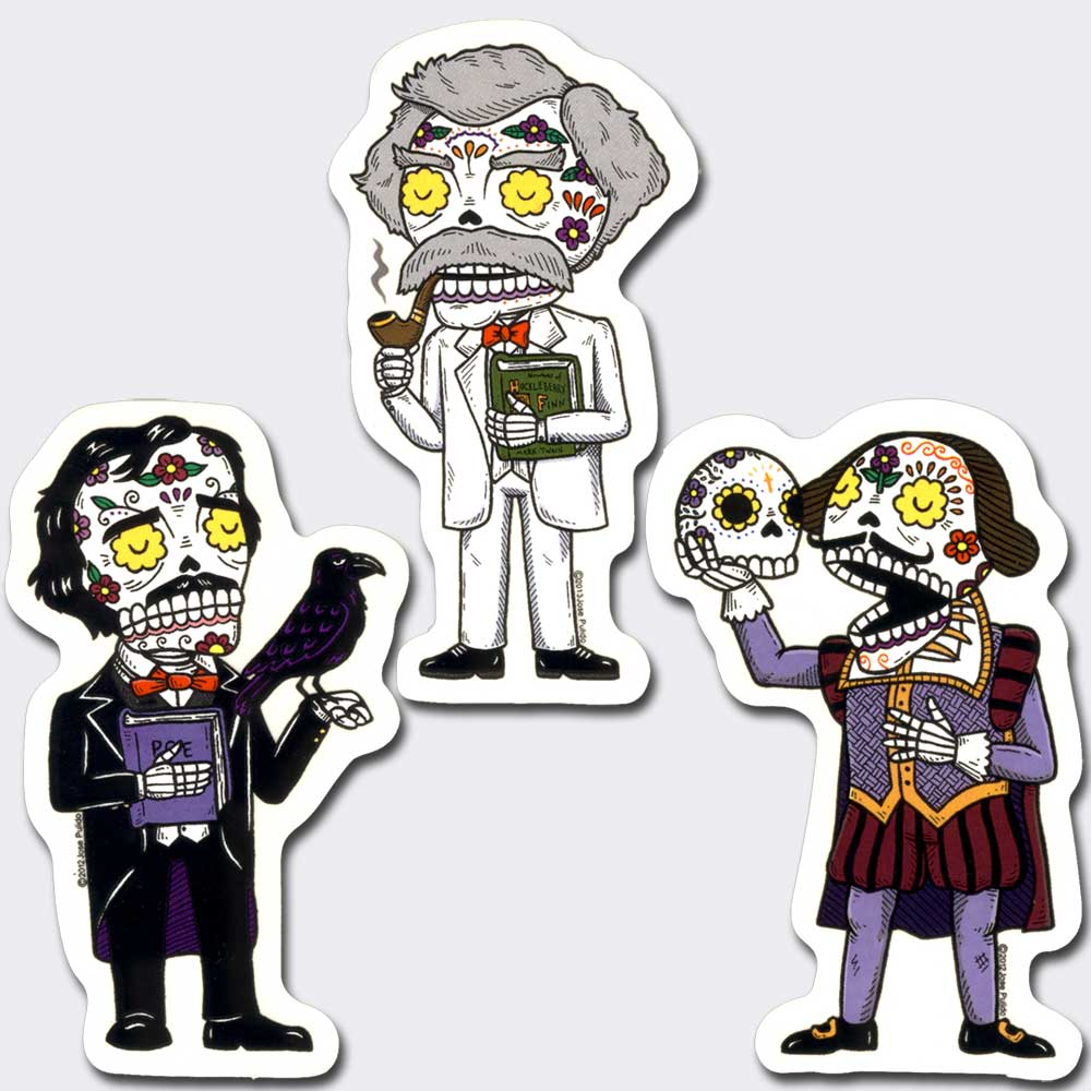 Famous Authors Vinyl Sticker Set of 3
