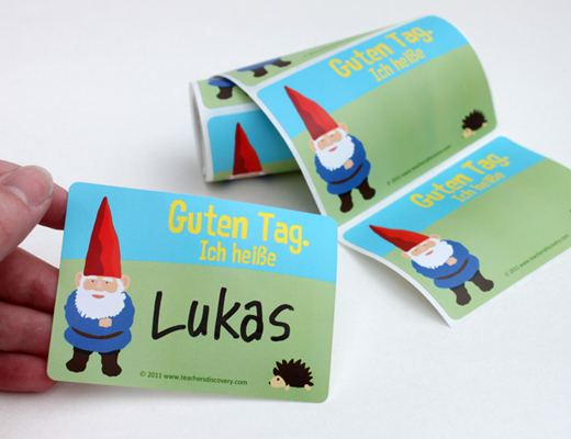 Gnome German Nametags Set of 36