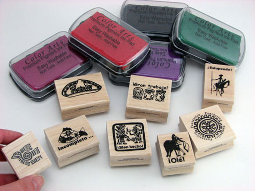 Set of 8 Spanish Stamps & 5 Ink Pads