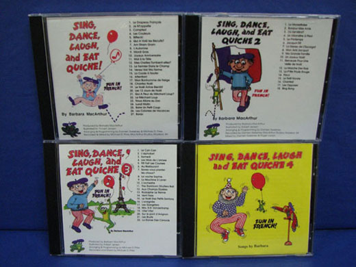 Sing, Dance, Laugh and Eat Quiche Volumes 1, 2, 3 and 4 Set of French CD's