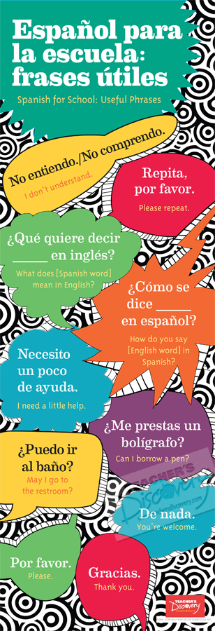 School phrases skinny poster spanish posters teacher 39 s for Farcical in spanish