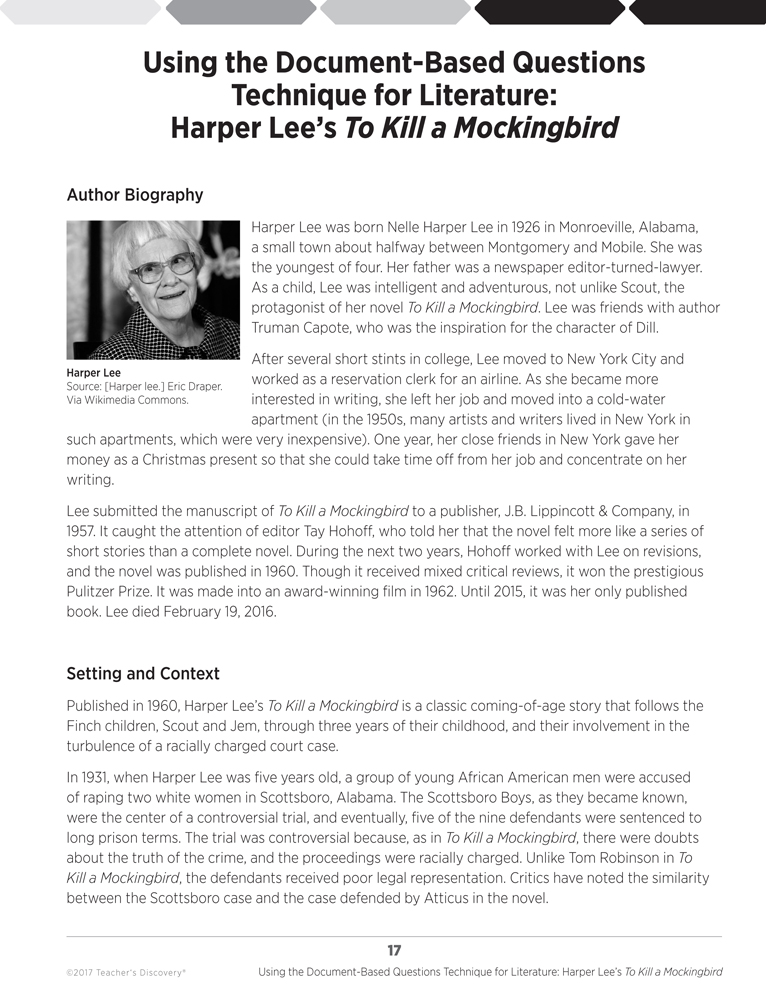 """a literary analysis of the novel to kill a mockingbird by harper lee Even earlier students have already completed reading the novel to kill a mockingbird by harper lee the novel is told from the perspective of a young girl, jean louise """"scout"""" finch, as she grows up in the 1930's in small town alabama her father is appointed to defend an african-american man after he is accused of raping a caucasian woman."""