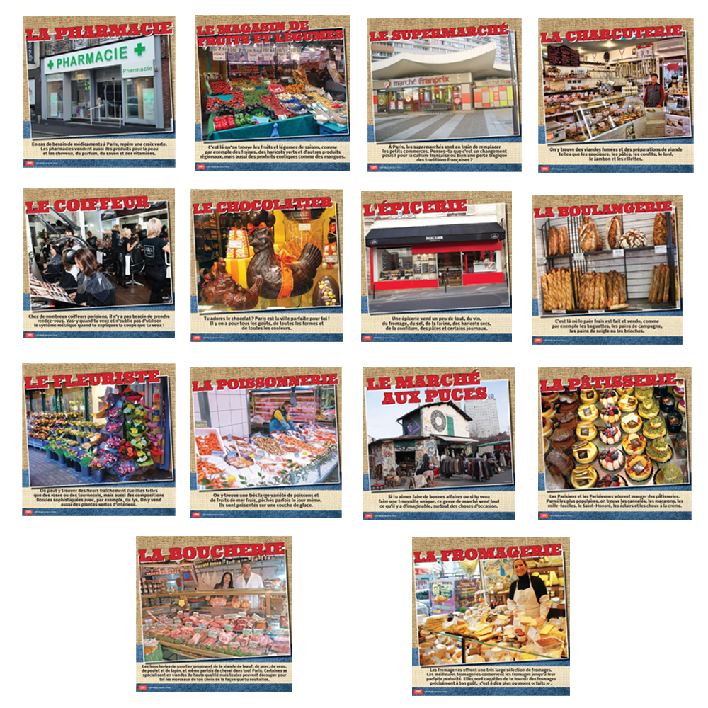 Les commerces de Paris Bulletin Board Set