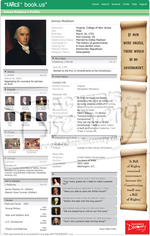 "James Madison ""Farce"" book Poster"