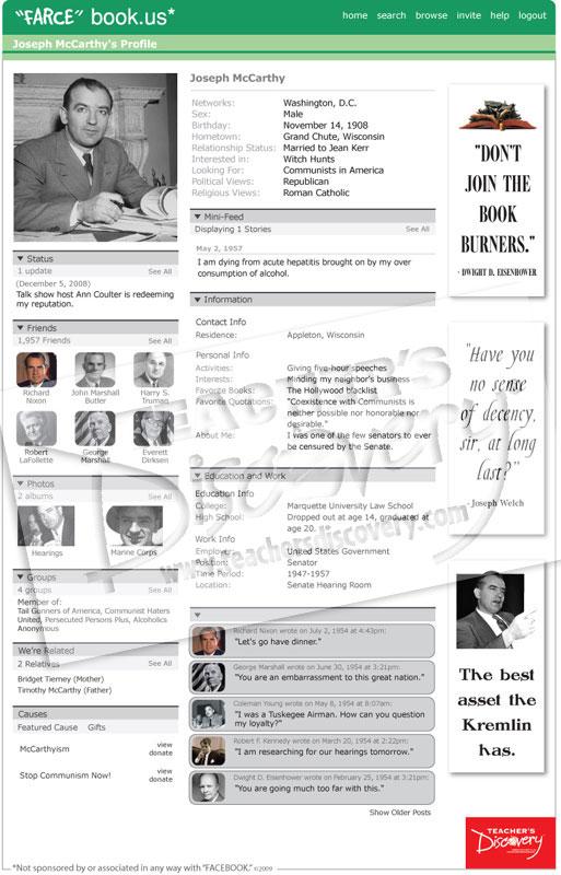 "Joseph McCarthy ""Farce"" book Poster"
