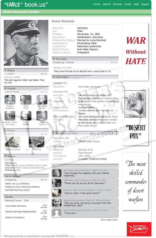 "Erwin Rommel ""Farce"" book Poster"