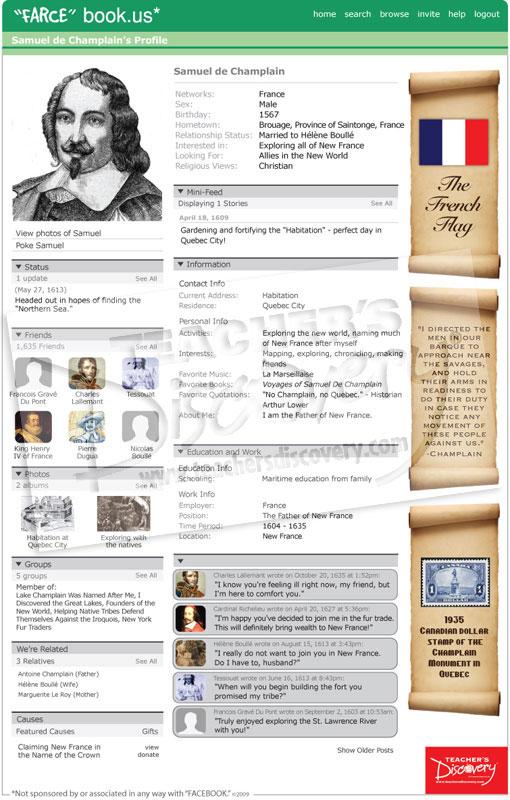 Samuel de champlain farce book poster social studies for Farcical books