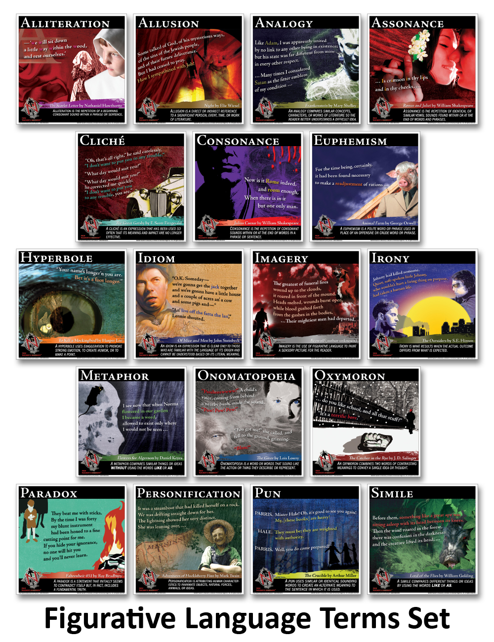 Novel Guide Figurative Language Mini-Posters ~ Set of 18