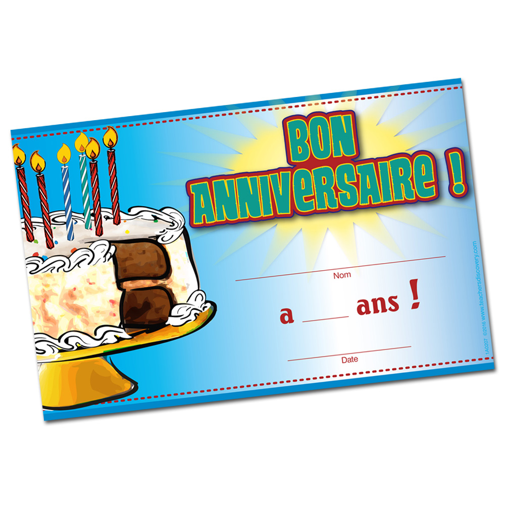 French Birthday Certificates (Set of 36)