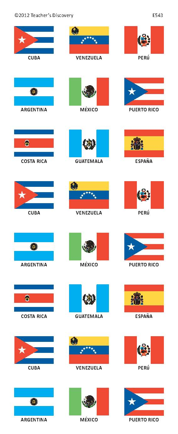 Spanish Speaking Countries Flag Stickers, Spanish: Teacher's Discovery