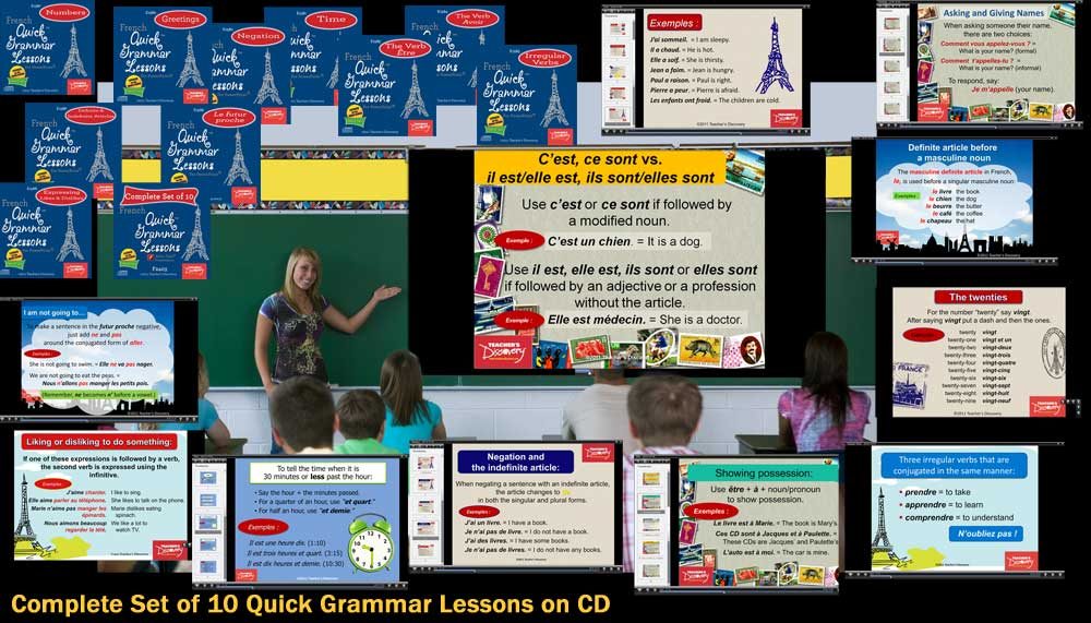 Quick Grammar Lessons French Adobe Flash Set of 10 Presentations