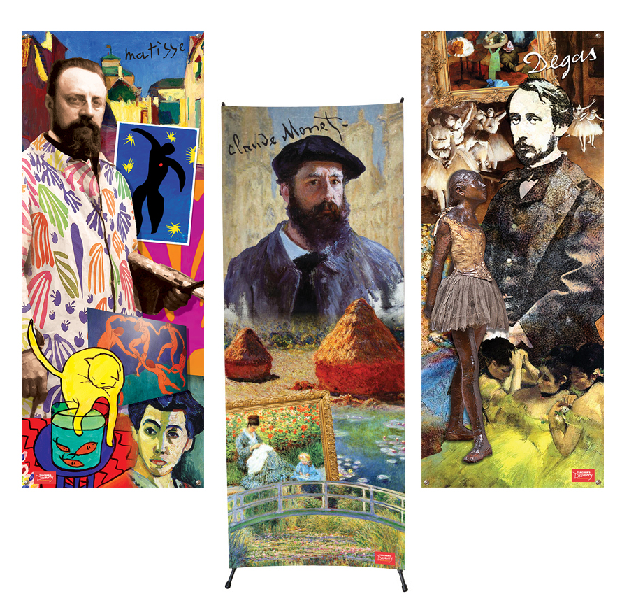 French Artists Vinyl Banner Set of All 3 Banners and 1 X-Stand