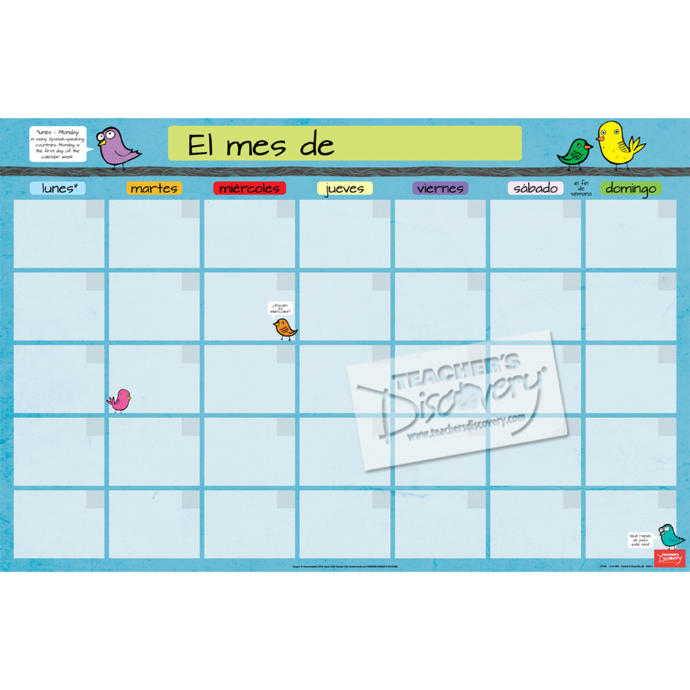 Month Spanish Homework Chart