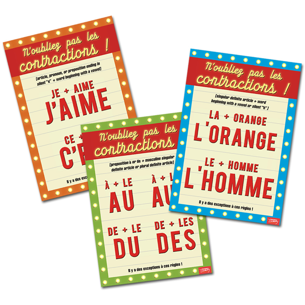 Contractions French Charts (Set of 3)