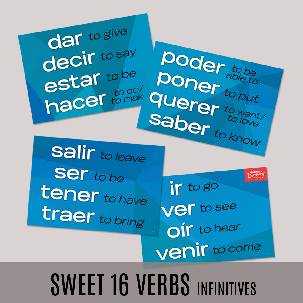 Sweet 16 Infinitives Spanish Posters—Set of 4