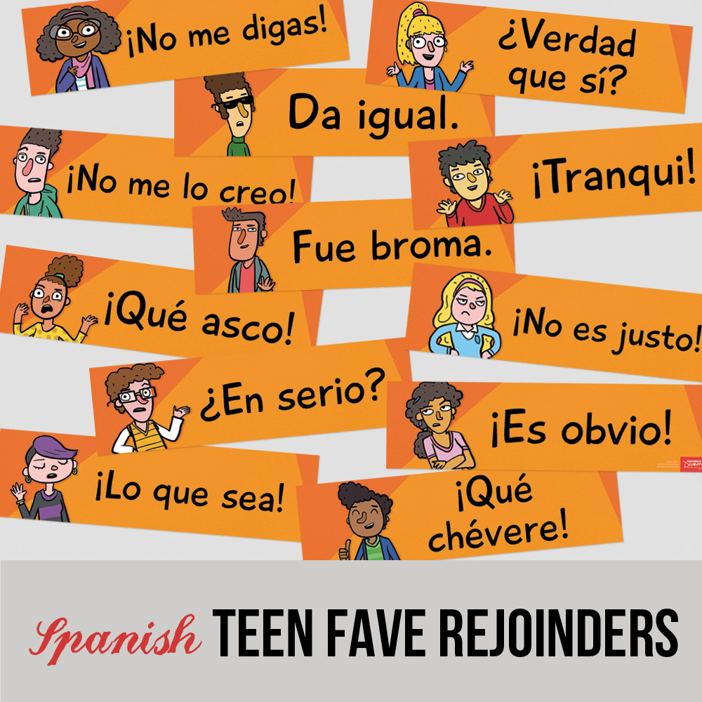 Teen Faves Spanish Rejoinder Signs - Set of 12