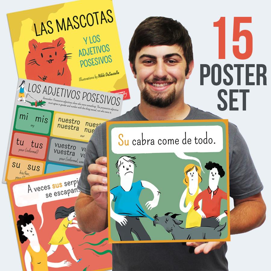 Possessive Adjectives and Pets Spanish Mini-Poster Set