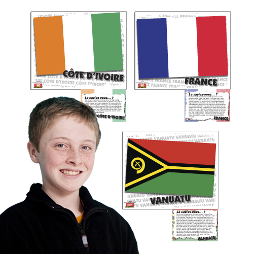 Flags of French Speaking Countries Bulletin Board Set (2015)