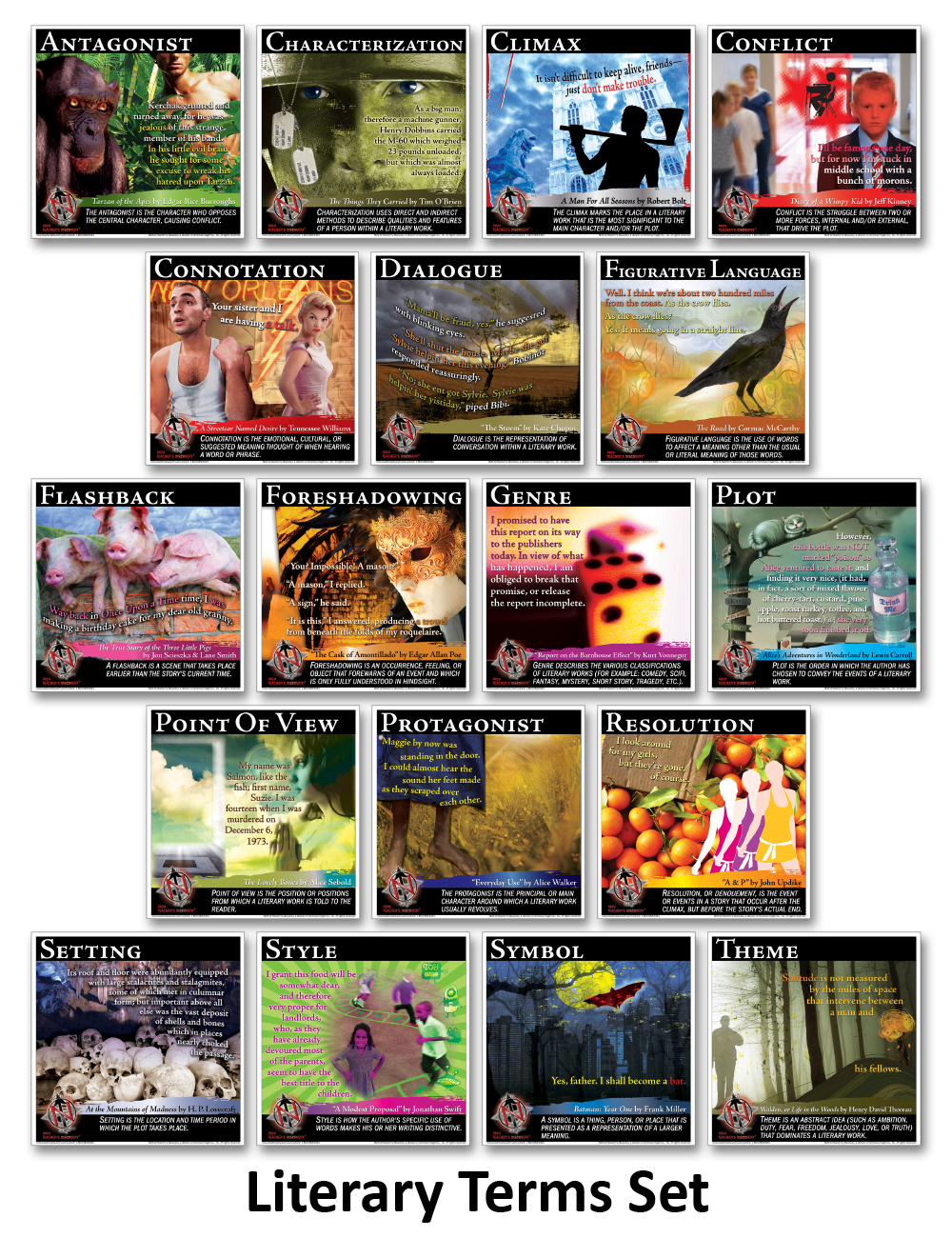 Novel Guide Literary Devices and Elements Mini-Poster Set