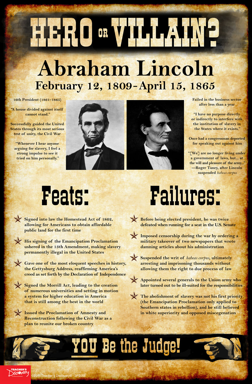 abraham lincoln hero or villain mini poster social studies teacher 39 s discovery. Black Bedroom Furniture Sets. Home Design Ideas