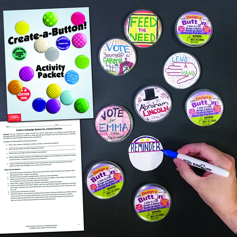 Create-Your-Own Buttons Set of 36 & Activity Packet
