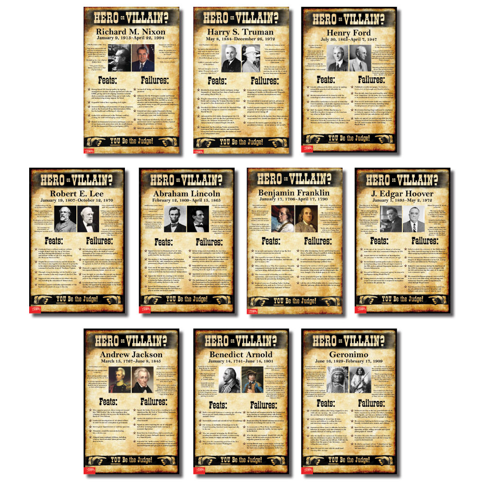 Hero or Villain? Mini-Poster Set of 10