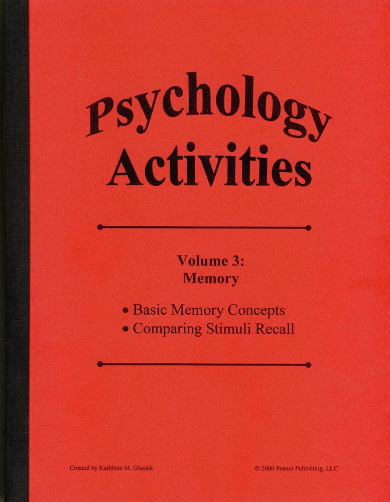 Psychology Activities: Volume 3, Memory Book