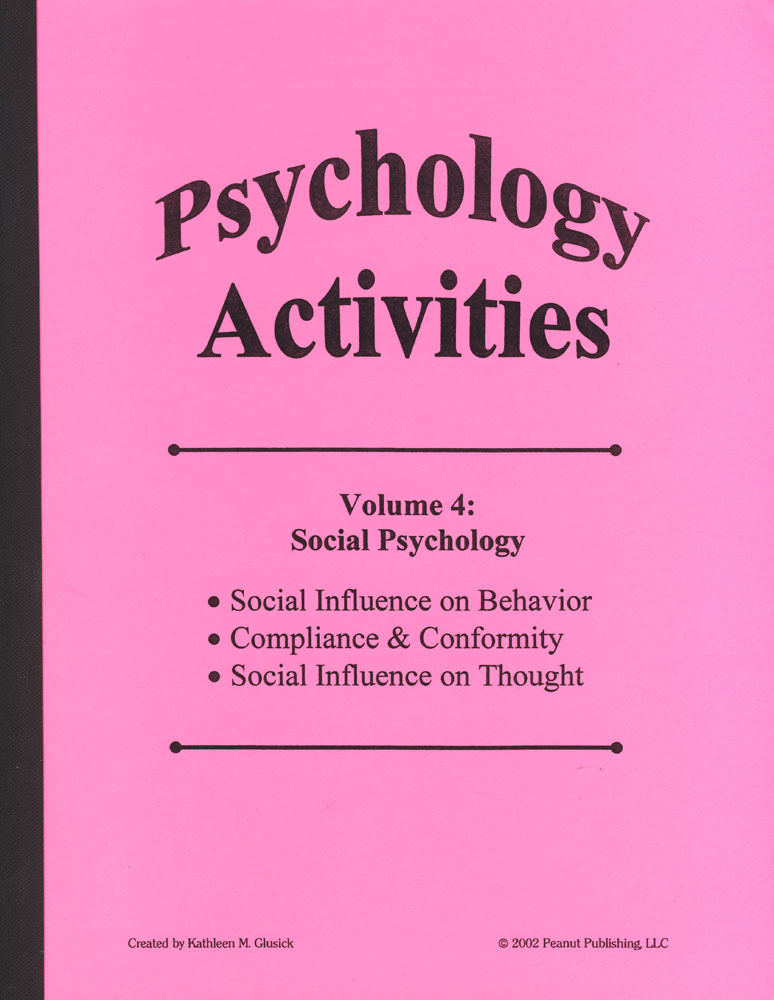 Psychology Activities: Volume 4, Social Psychology Book
