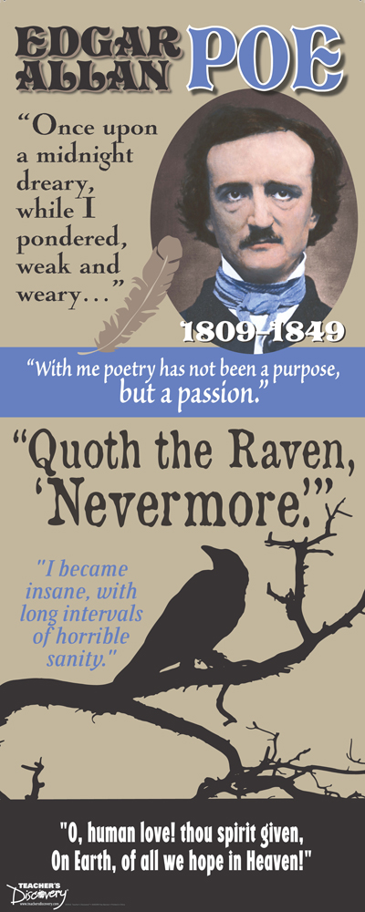 Quoth the Raven: Edgar Allan Poe Fabric Banner with Clips