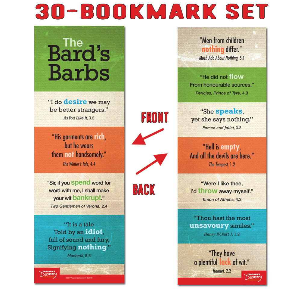 The Bard's Barbs Bookmarks - Set of 30