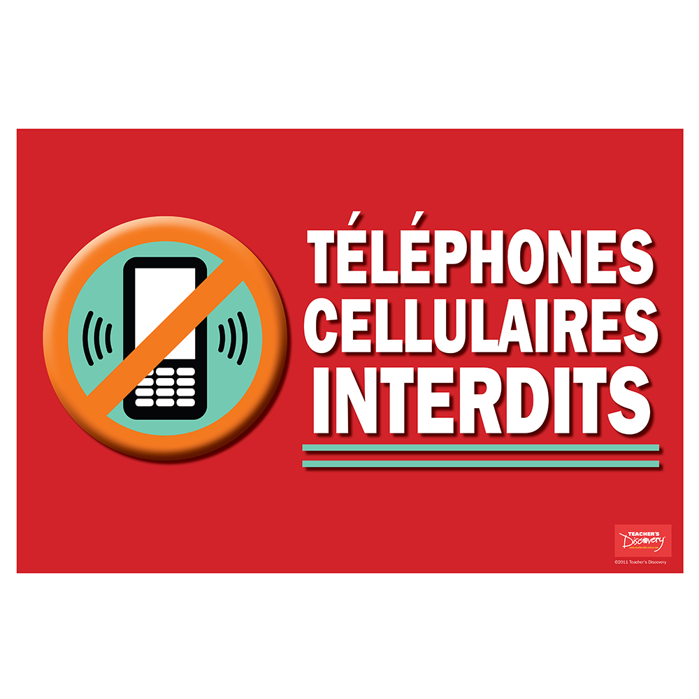 No Cell Phone / Téléphones cellulaires interdits French Poster