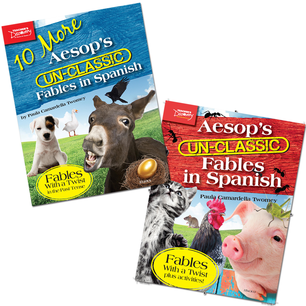 Aesop's Un-Classic Fables in Spanish Present Tense Book and 10 More Aesop's Un-Classic Fables in Spanish Past Tense Book Set