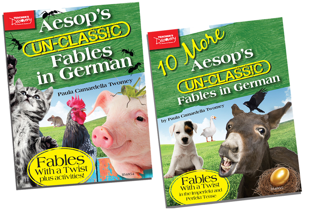 Aesop's Un-Classic Fables in German in  the Present Tense Book and 10 More Aesop's Un-Classic Fables in German in the Past Tense Book Set